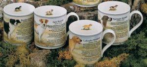 Set of 4 Dog China Mugs