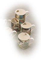 Set of 4 Pastime China Mugs